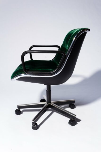 Alternate view 3 of Piero Green Velvet Rolling Chair