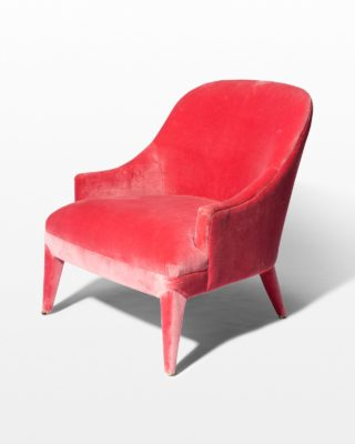 Front view of Lordes Coral Velvet Armchair