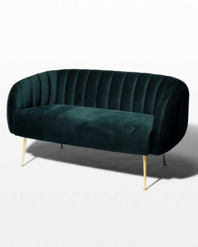 Front view of Leonard Dark Green Velvet Loveseat