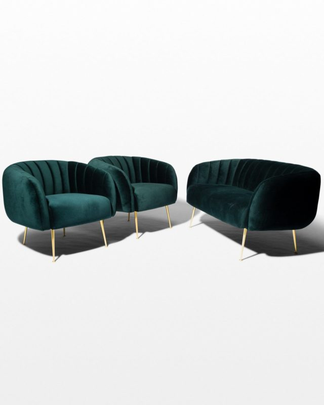 Front view of Leonard Dark Green Velvet Loveseat and Chairs Set
