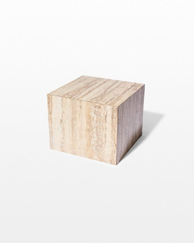 Front view of Hilden Stone Laminate Cube Side Table