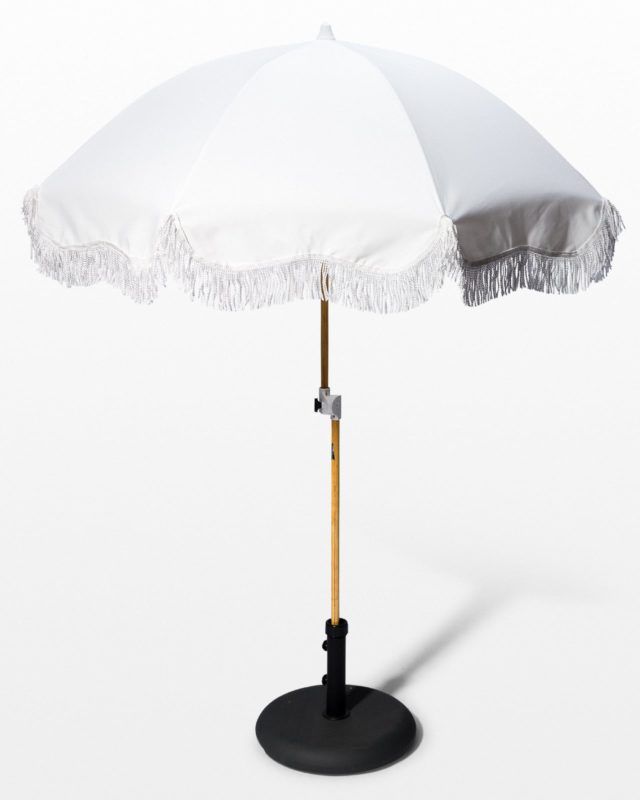 Front view of Lotus Ivory Beach Umbrella