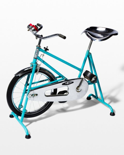 Front view of Quest Vintage Teal and Chrome Exercise Bike