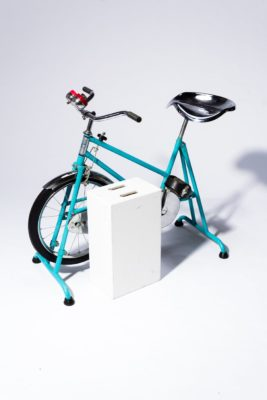 Alternate view 3 of Quest Vintage Teal and Chrome Exercise Bike
