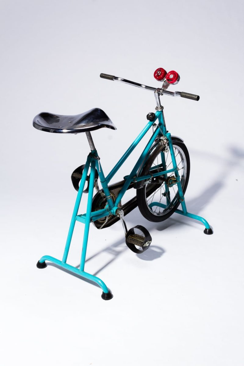 Alternate view 5 of Quest Vintage Teal and Chrome Exercise Bike