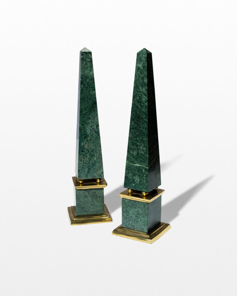Front view of Joba Green Marble Obelisk Pair