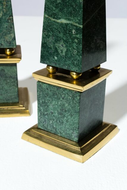 Alternate view 1 of Joba Green Marble Obelisk Pair