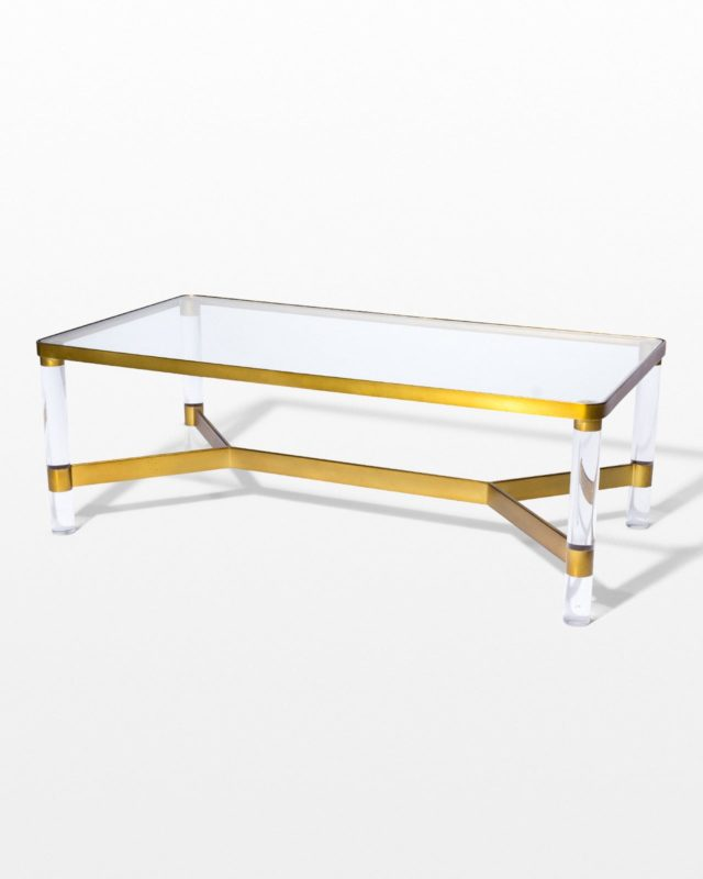 Front view of Topaz Acrylic and Glass Coffee Table