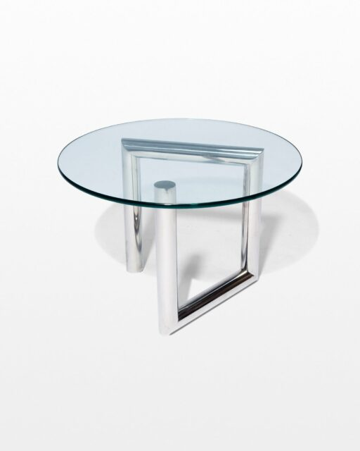 Front view of Abra Glass and Chrome Side Table