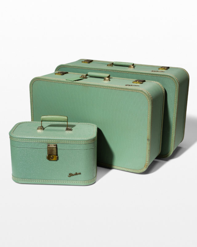 Front view of Bly Mint Luggage Set