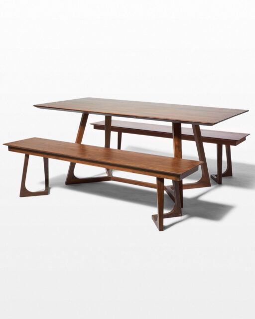 Front view of Axis Dining Table and Bench Set