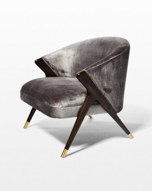 Front view of Clive Silver Velvet Chair