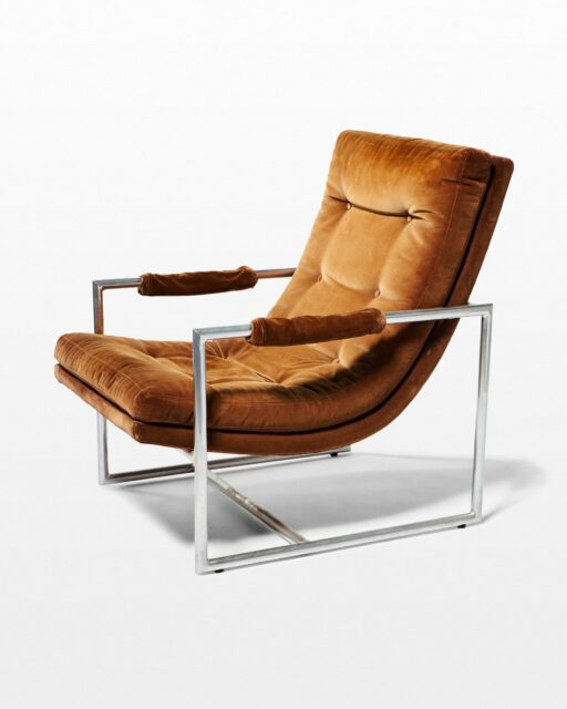 Front view of Decker Camel Velvet Lounge Chair