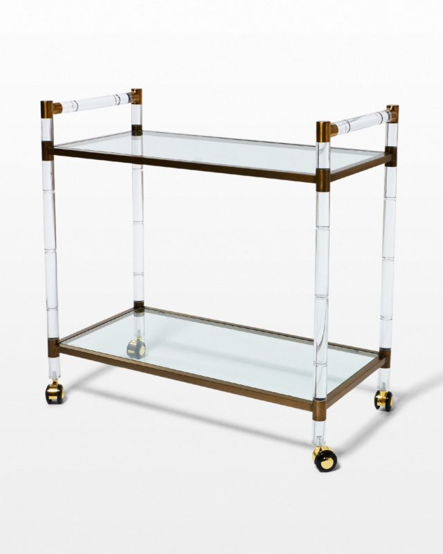 Front view of Gordon Acrylic and Glass Bar Cart