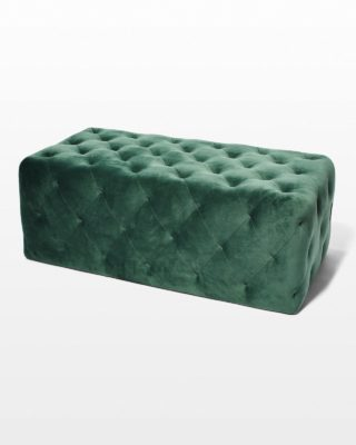 Front view of Moss Velvet Ottoman