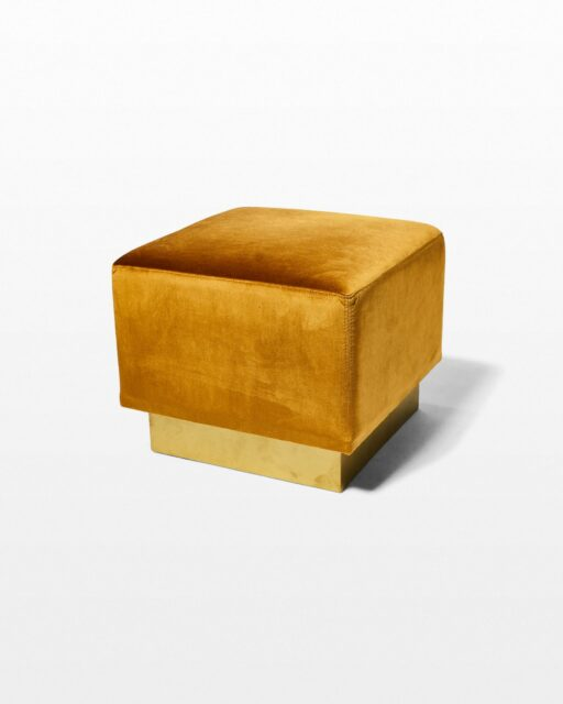 Front view of Lara Gold Velvet Cube Ottoman