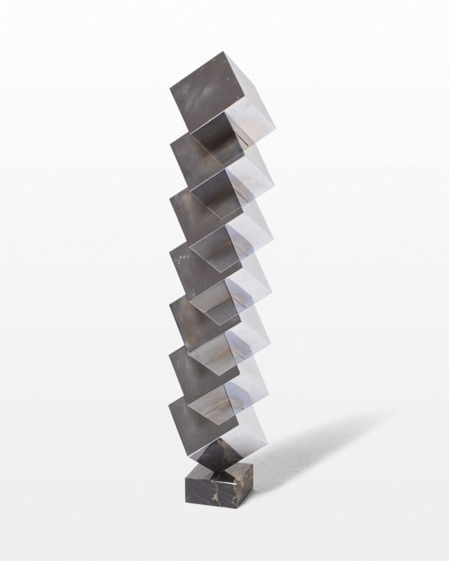 Front view of Ophelia Stacked Chrome Cube Sculpture