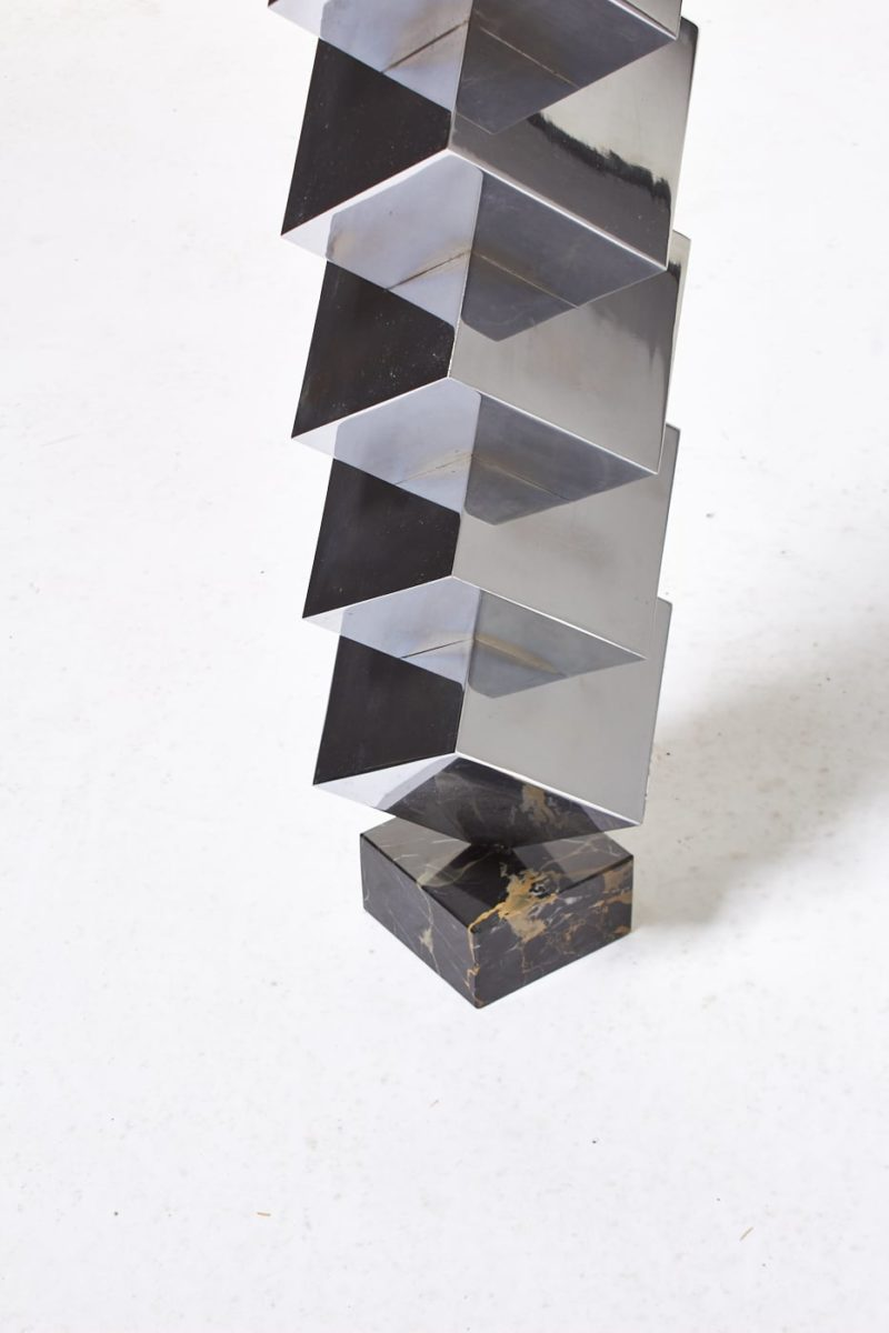 Alternate view 3 of Ophelia Stacked Chrome Cube Sculpture