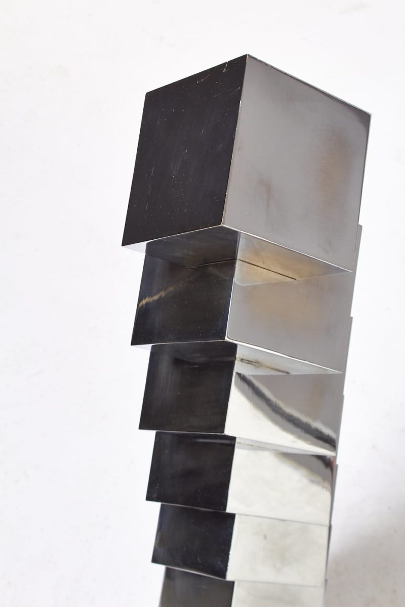 Alternate view 4 of Ophelia Stacked Chrome Cube Sculpture