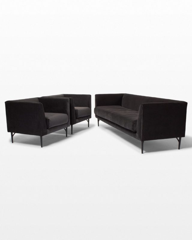 Front view of Lyon Grey Velvet Sofa and Chair Set