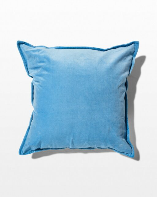 Front view of Billie Light Blue Velvet Pillow