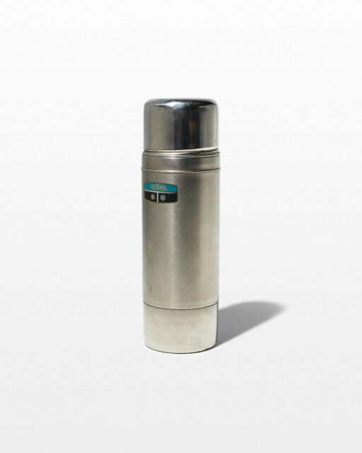Front view of Davis Silver Thermos