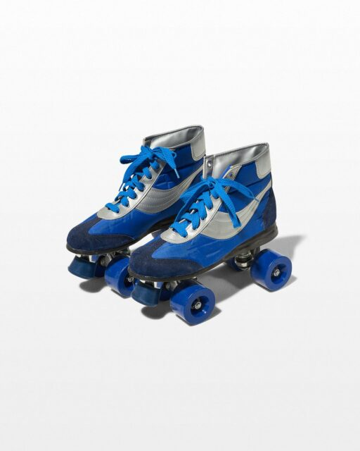 Front view of Frye Blue and White Roller Skates