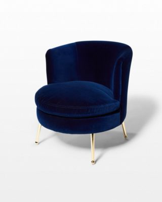 Front view of Mabel Blue Velvet Side Chair