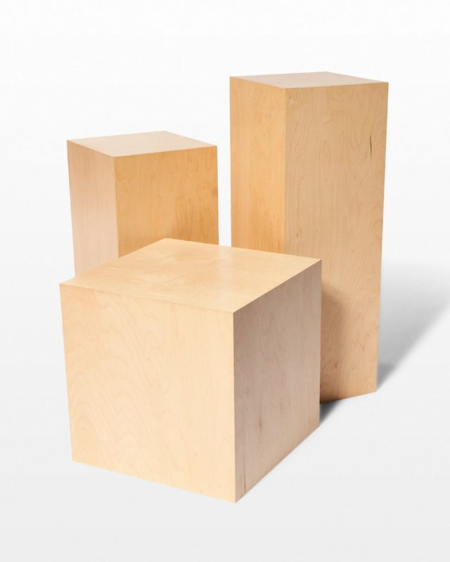 Front view of Andy Natural Wood Pedestal Set