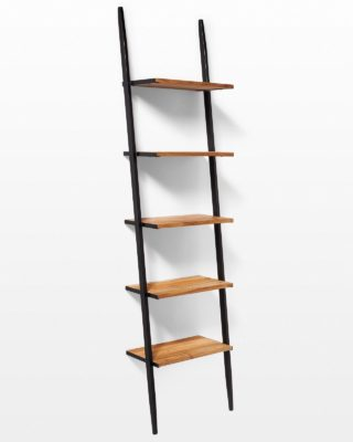 Front view of Chaz Reclaimed Teak Leaning Bookshelf