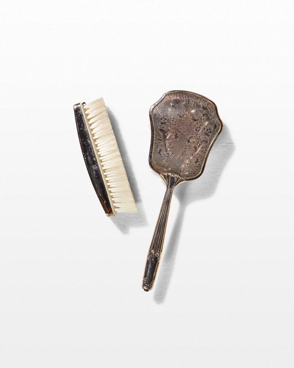 Front view of Nova Silver Comb and Brush Set