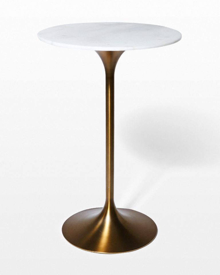 Front view of Jazz White Marble Tulip Bar Table