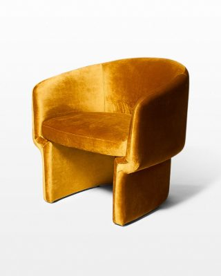 Front view of Fields Gold Velvet Armchair