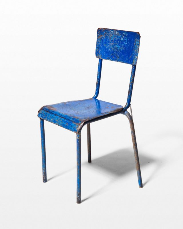 Front view of Fader Distressed Blue Metal Chair