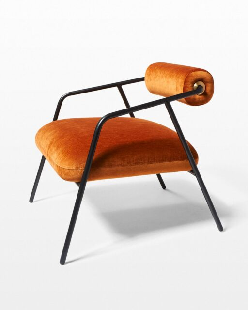 Front view of Bowser Rust Velvet Lounge Chair