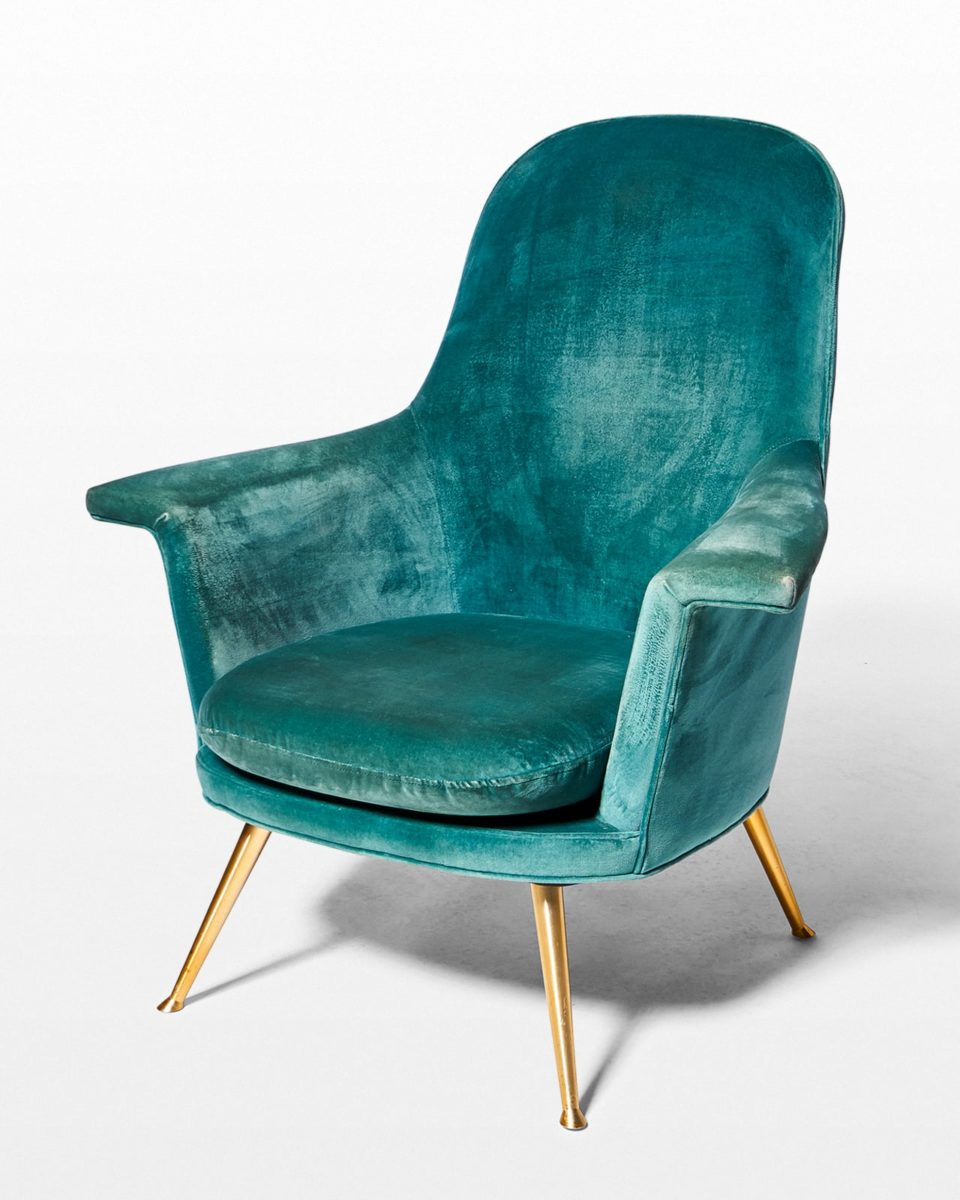 Front view of Optique Distressed Velvet Armchair