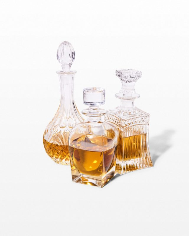 Front view of Glass Liquor Bottle Bar Set