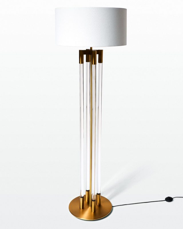 Front view of Albie Acrylic and Brass Floor Lamp