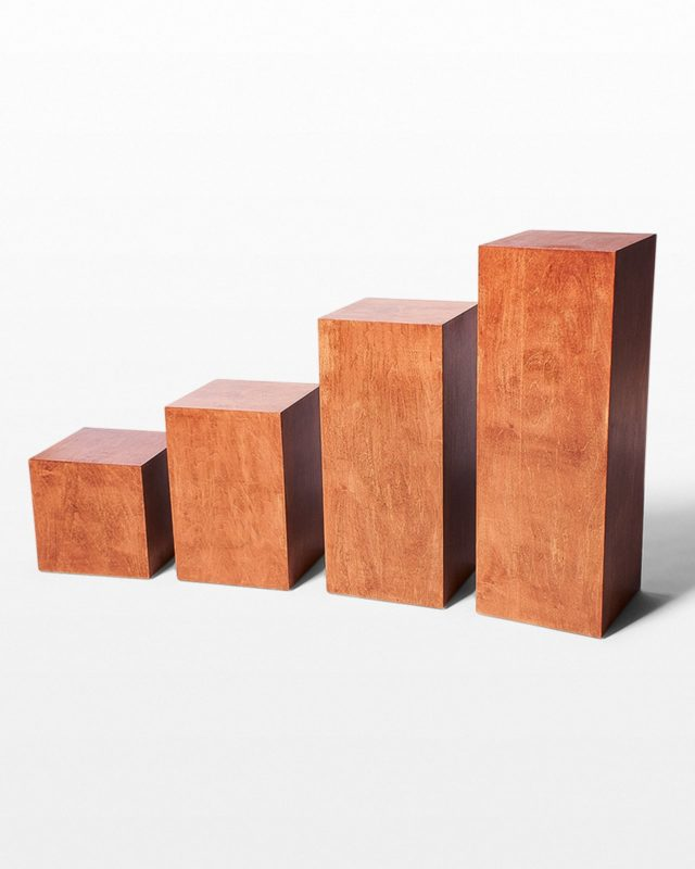 Front view of Walden Chestnut Wood Pedestal Set of 4