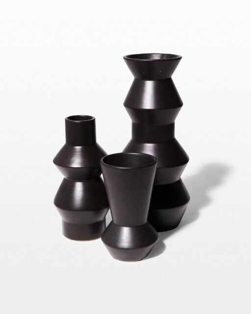 Front view of Bozeman Black Ceramic Vase Trio