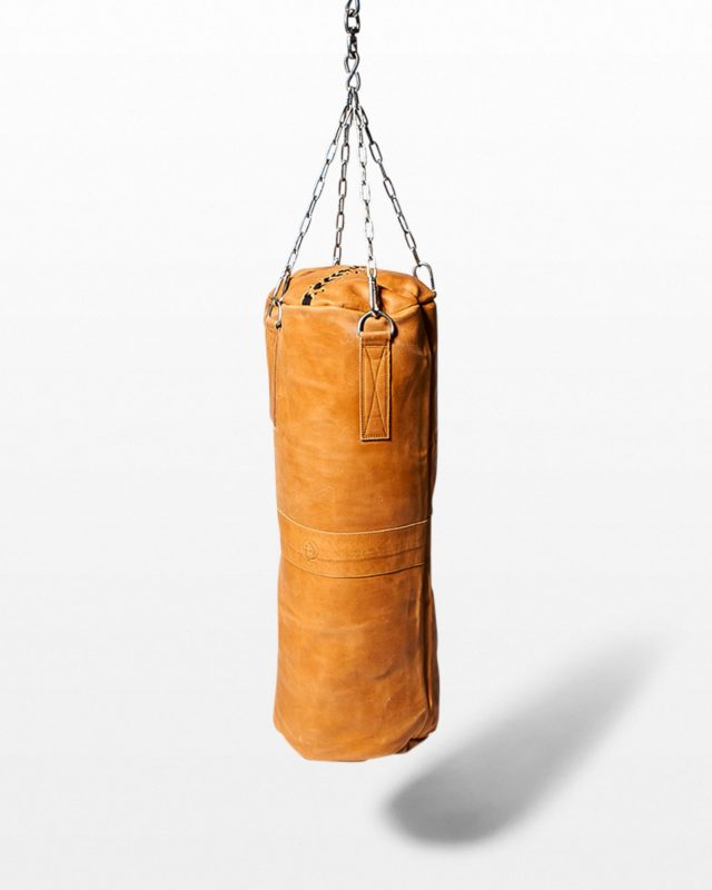 Front view of Cassius Tobacco Leather Punching Bag
