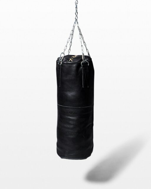 Front view of Clay Black Leather Punching Bag