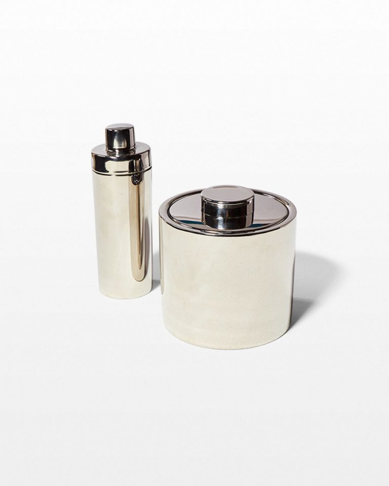 Front view of Martini Stainless Steel Shaker and Ice Bucket Duo