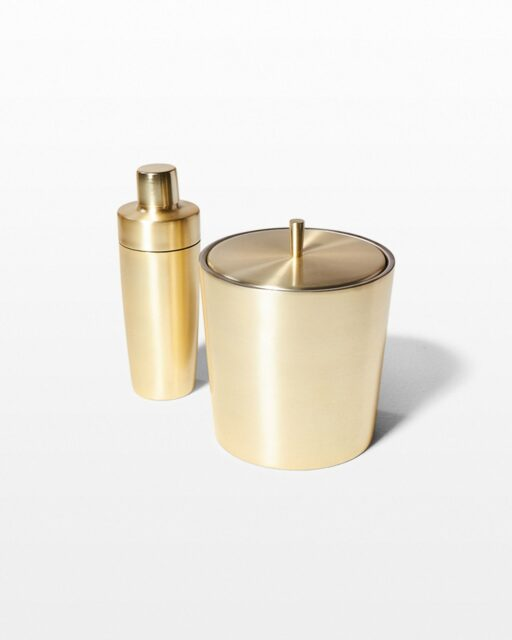 Front view of Champagne Gold Shaker and Ice Bucket Duo
