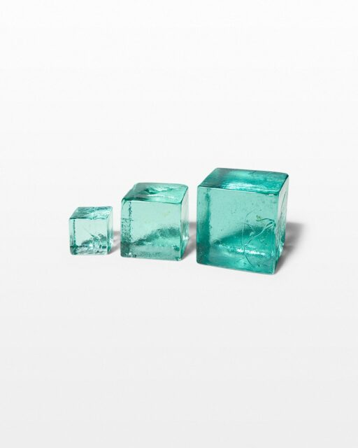Front view of Decorative Recycled Glass Cube Trio