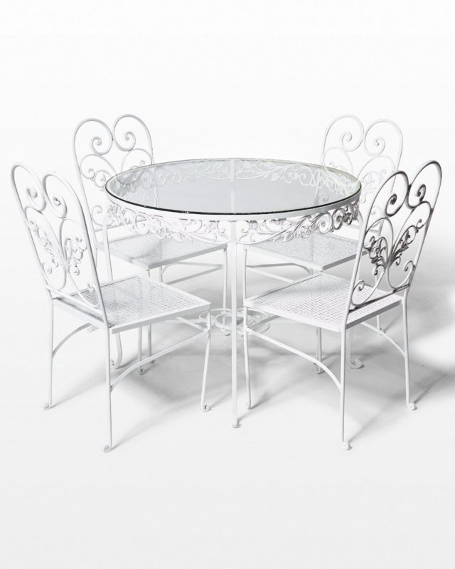Front view of Carnation Garden Table and Chairs Set