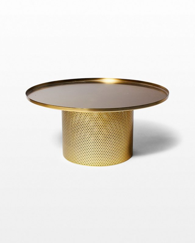 Front view of Carey Brushed Brass Coffee Table