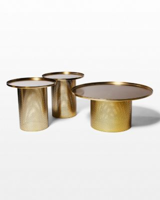 Front view of Carey Brushed Brass Coffee and End Table Set