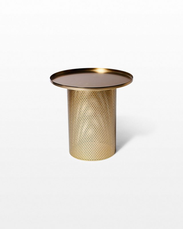 Front view of Carey Brushed Brass End Table