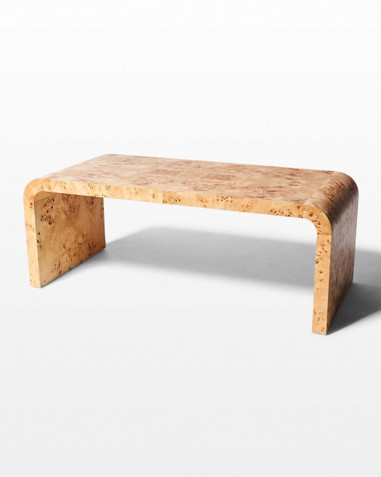 Front view of Ward Burl Wood Waterfall Coffee Table